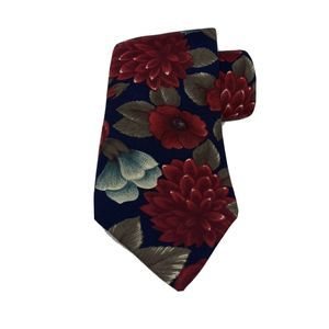 Vintage Blue Red Floral Mens Woodward Necktie